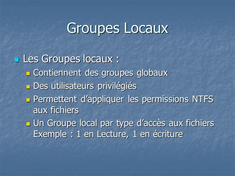 Groupes Locaux Les Groupes locaux : Les Groupes locaux : Contiennent des groupes globaux Contiennent des groupes globaux Des utilisateurs privilégiés