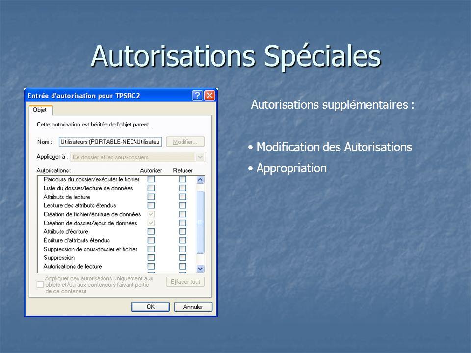 Autorisations Spéciales Autorisations supplémentaires : Modification des Autorisations Appropriation