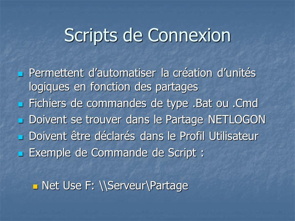Scripts de Connexion Permettent dautomatiser la création dunités logiques en fonction des partages Permettent dautomatiser la création dunités logique