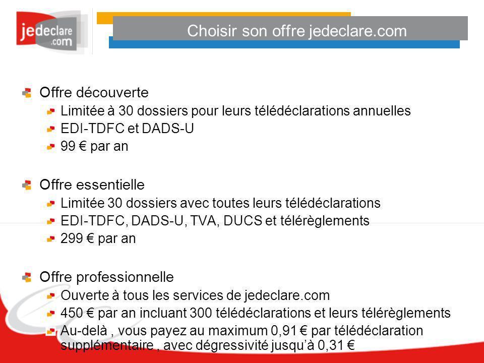 Choisir son offre jedeclare.com Offre découverte Limitée à 30 dossiers pour leurs télédéclarations annuelles EDI-TDFC et DADS-U 99 par an Offre essent