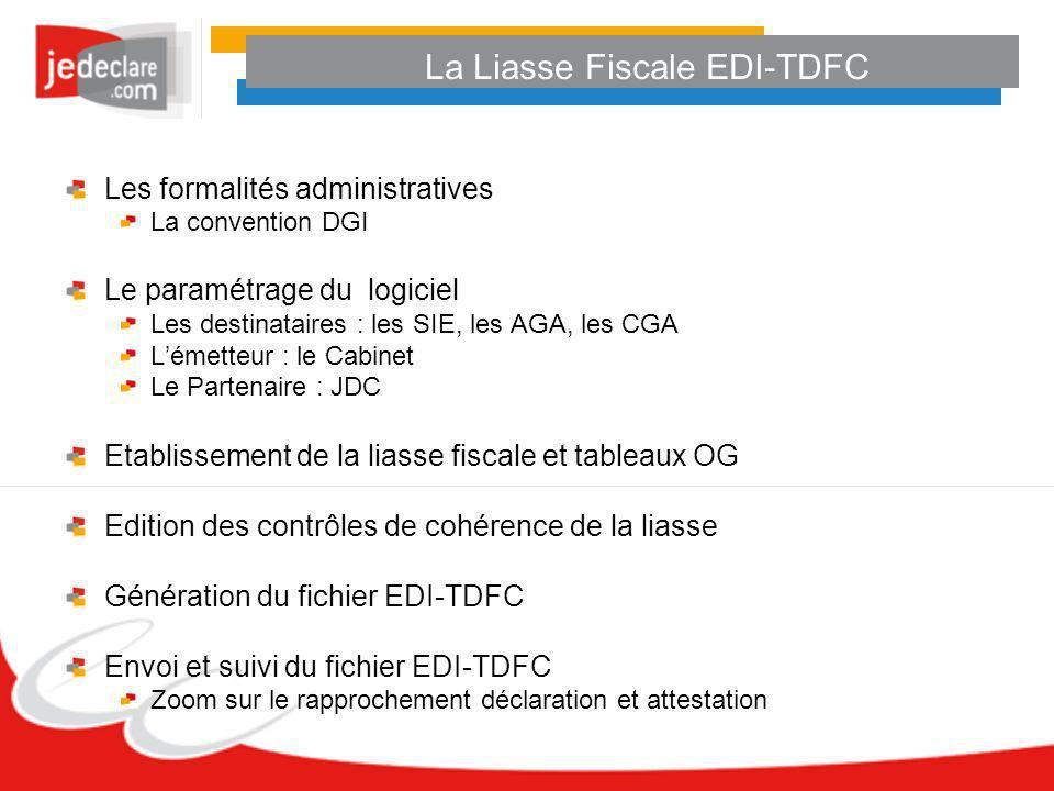 La Liasse Fiscale EDI-TDFC Les formalités administratives La convention DGI Le paramétrage du logiciel Les destinataires : les SIE, les AGA, les CGA L