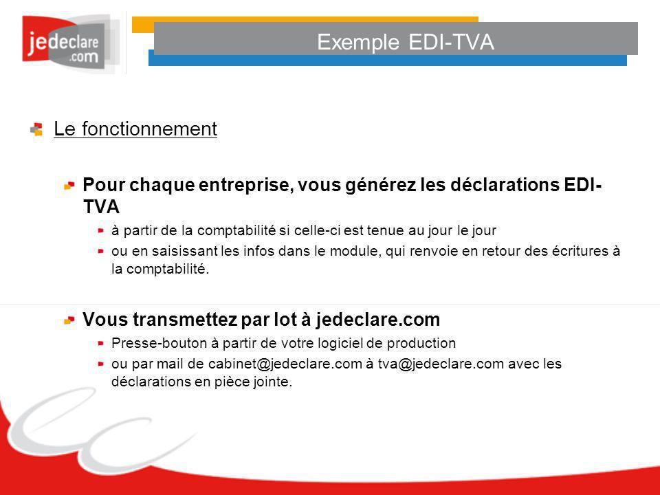 Exemple EDI-TVA Le fonctionnement Pour chaque entreprise, vous générez les déclarations EDI- TVA à partir de la comptabilité si celle-ci est tenue au