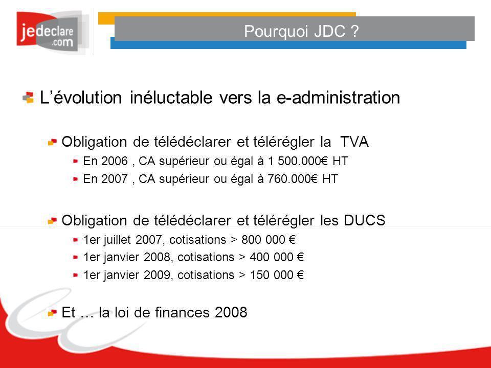 Pourquoi JDC ? Lévolution inéluctable vers la e-administration Obligation de télédéclarer et télérégler la TVA En 2006, CA supérieur ou égal à 1 500.0