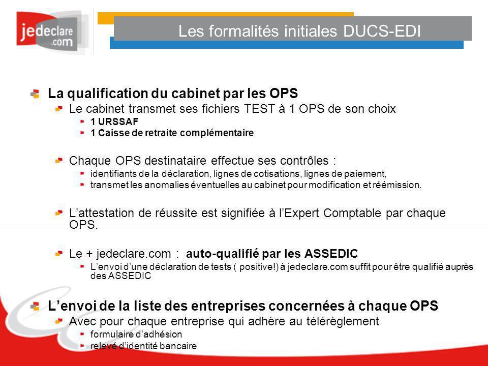 Les formalités initiales DUCS-EDI La qualification du cabinet par les OPS Le cabinet transmet ses fichiers TEST à 1 OPS de son choix 1 URSSAF 1 Caisse