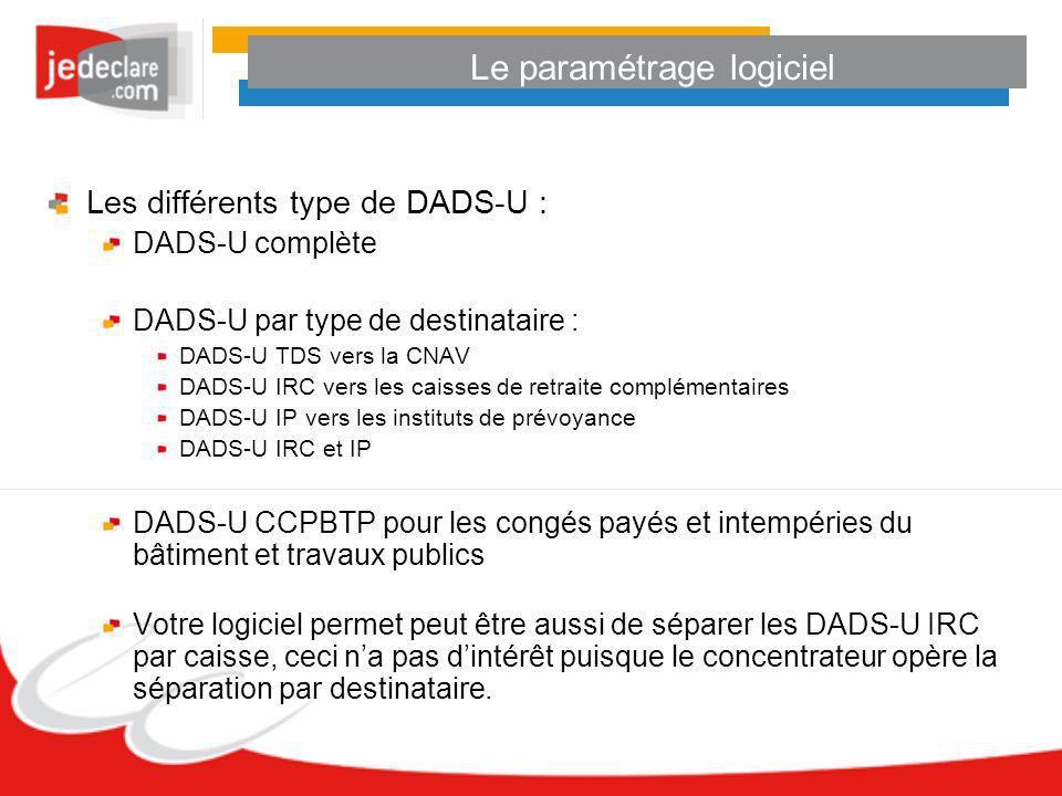 Le paramétrage logiciel Les différents type de DADS-U : DADS-U complète DADS-U par type de destinataire : DADS-U TDS vers la CNAV DADS-U IRC vers les