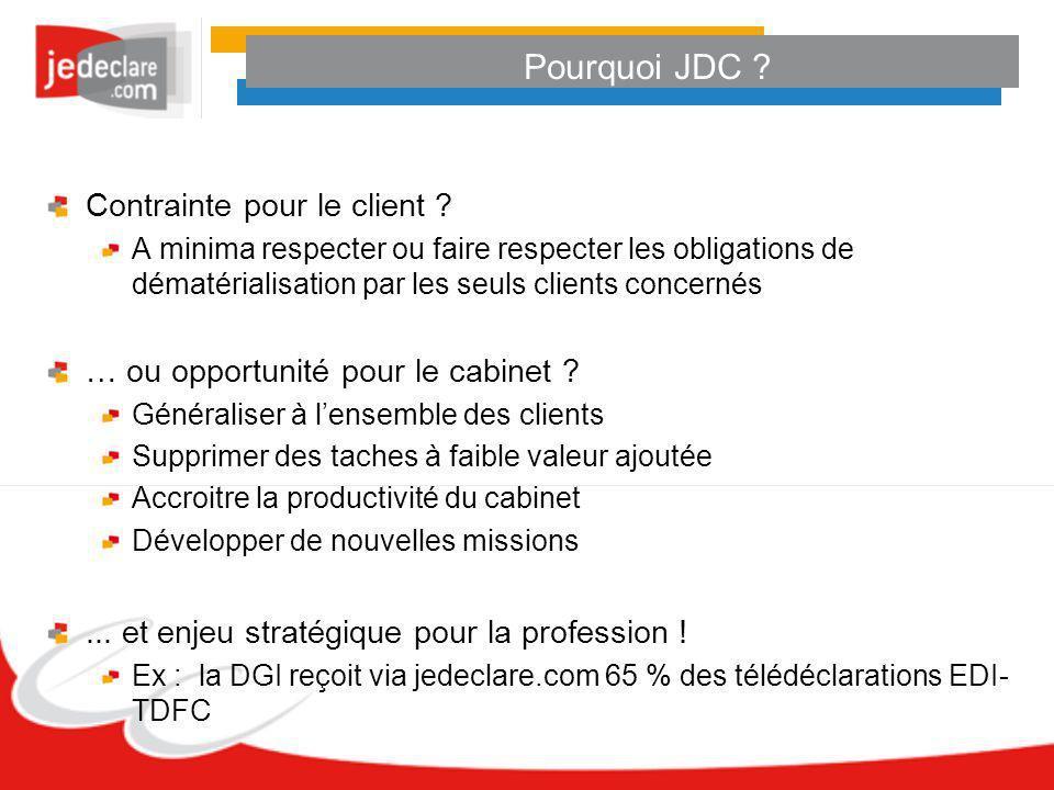Pourquoi JDC ? Contrainte pour le client ? A minima respecter ou faire respecter les obligations de dématérialisation par les seuls clients concernés