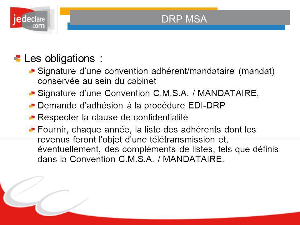 DRP MSA Les obligations : Signature dune convention adhérent/mandataire (mandat) conservée au sein du cabinet Signature dune Convention C.M.S.A. / MAN