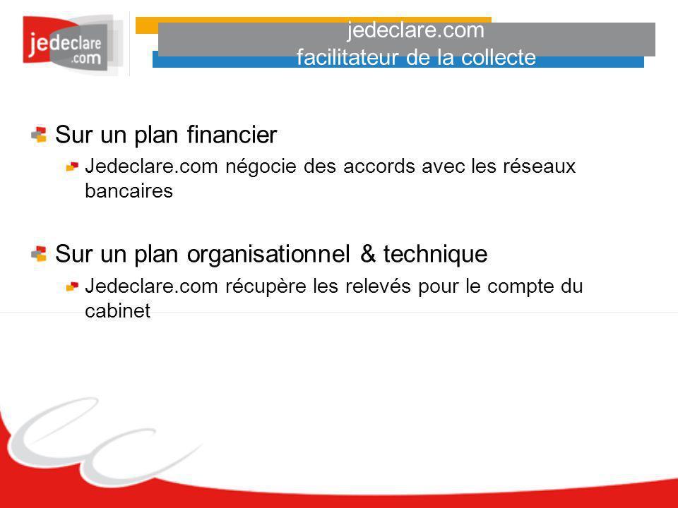 jedeclare.com facilitateur de la collecte Sur un plan financier Jedeclare.com négocie des accords avec les réseaux bancaires Sur un plan organisationn