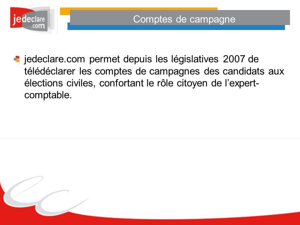Comptes de campagne jedeclare.com permet depuis les législatives 2007 de télédéclarer les comptes de campagnes des candidats aux élections civiles, co