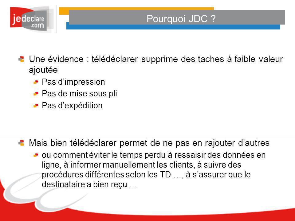 Pourquoi JDC ? Une évidence : télédéclarer supprime des taches à faible valeur ajoutée Pas dimpression Pas de mise sous pli Pas dexpédition Mais bien