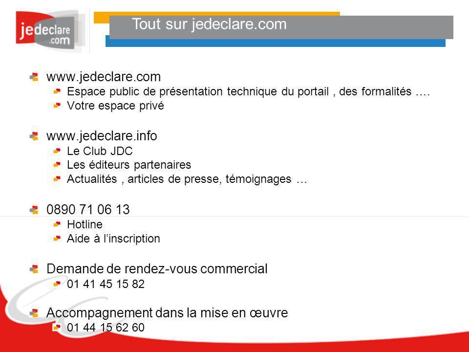 Tout sur jedeclare.com www.jedeclare.com Espace public de présentation technique du portail, des formalités …. Votre espace privé www.jedeclare.info L