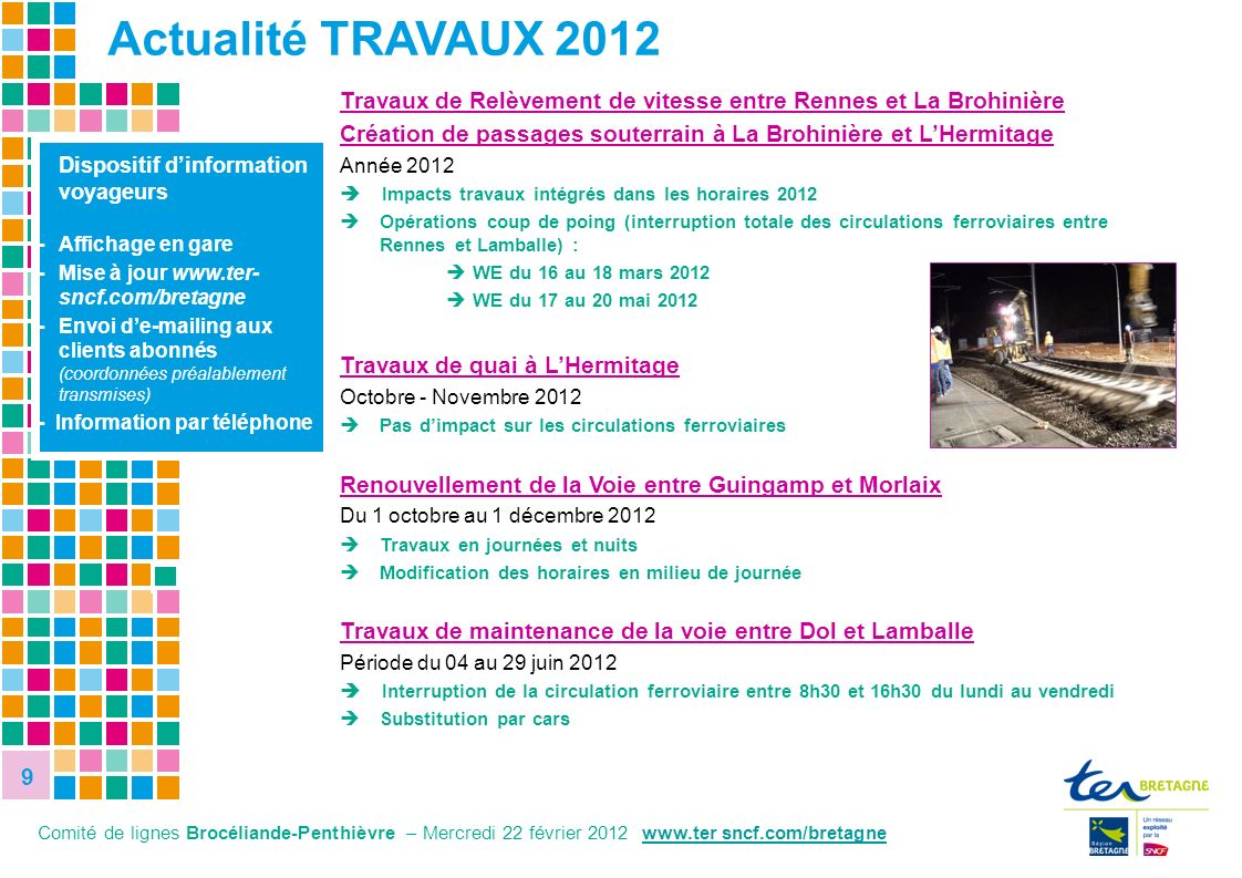9 9 9 8,1% 27,8% Dispositif dinformation voyageurs - Affichage en gare - Mise à jour www.ter- sncf.com/bretagne - Envoi de-mailing aux clients abonnés