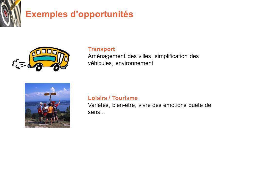 Exemples d opportunités Transport Aménagement des villes, simplification des véhicules, environnement Loisirs / Tourisme Variétés, bien-être, vivre des émotions quête de sens...