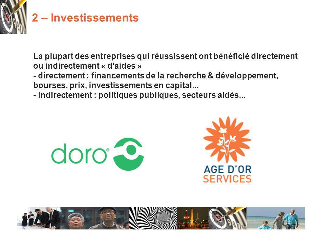 La plupart des entreprises qui réussissent ont bénéficié directement ou indirectement « d aides » - directement : financements de la recherche & développement, bourses, prix, investissements en capital...