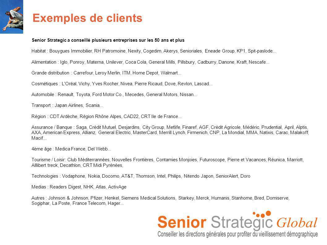Exemples de clients Senior Strategic a conseillé plusieurs entreprises sur les 50 ans et plus Habitat : Bouygues Immobilier, RH Patromoine, Nexity, Cogedim, Akerys, Senioriales, Eneade Group, KP1, Spit-paslode...