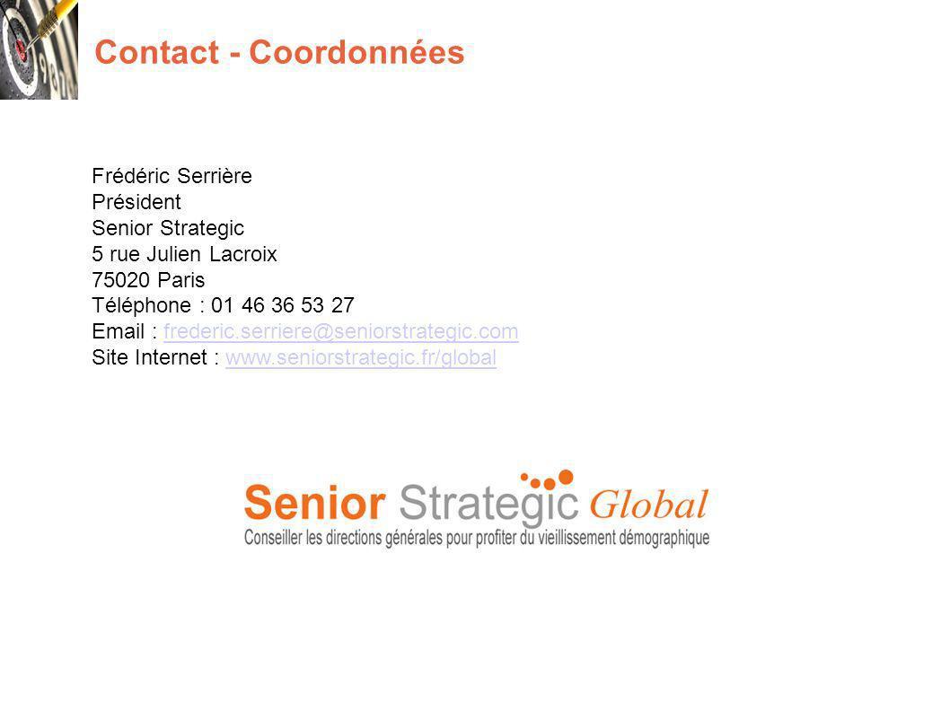 Contact - Coordonnées Frédéric Serrière Président Senior Strategic 5 rue Julien Lacroix 75020 Paris Téléphone : 01 46 36 53 27 Email : frederic.serriere@seniorstrategic.comfrederic.serriere@seniorstrategic.com Site Internet : www.seniorstrategic.fr/globalwww.seniorstrategic.fr/global