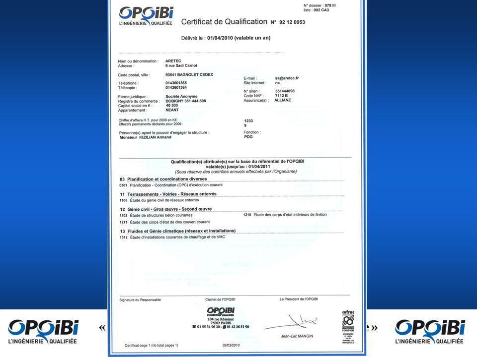 « OPQIBI : la marque de qualité de lingénierie » www.opqibi.com Contrôle, suivi et renouvellement Une qualification attribuée par un organisme de qualification accrédité possède une durée de vie limitée.