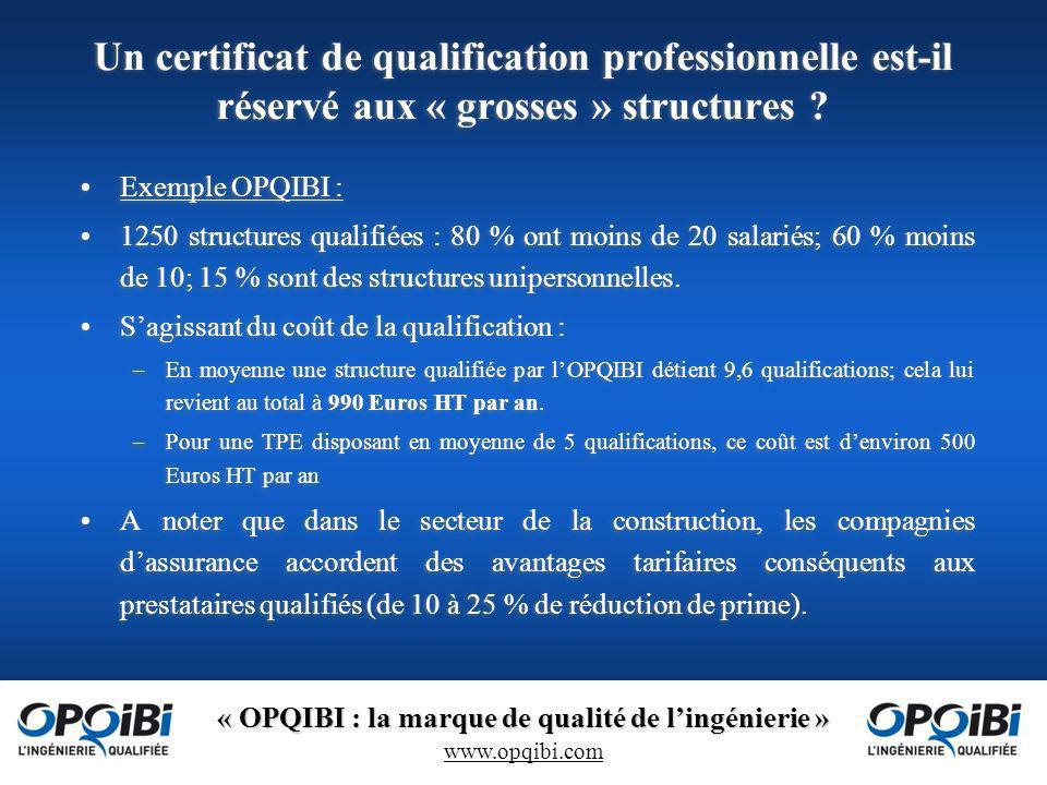 « OPQIBI : la marque de qualité de lingénierie » www.opqibi.com Un certificat de qualification professionnelle est-il réservé aux « grosses » structures .