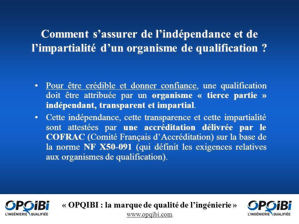 « OPQIBI : la marque de qualité de lingénierie » www.opqibi.com Comment sassurer de lindépendance et de limpartialité dun organisme de qualification .