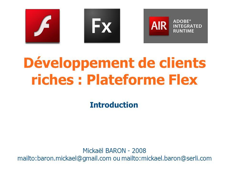 Développement de clients riches : Plateforme Flex Mickaël BARON - 2008 mailto:baron.mickael@gmail.com ou mailto:mickael.baron@serli.com Introduction