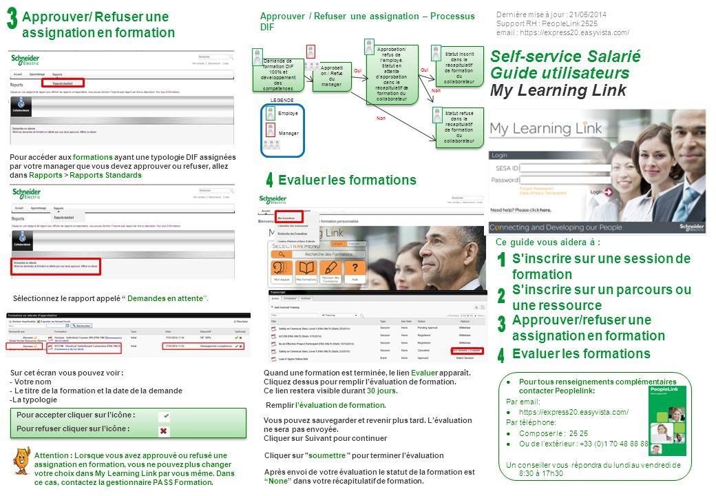 S inscrire sur une session S inscrire sur un parcours ou une ressource 2 2 1 1 Les statuts de formation sont expliqués en annexe du guide Self -Service salarié.