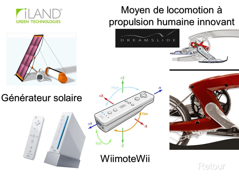 Générateur solaire Retour Moyen de locomotion à propulsion humaine innovant WiimoteWii