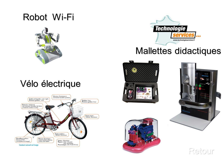 Vélo électrique Retour Mallettes didactiques Robot Wi-Fi