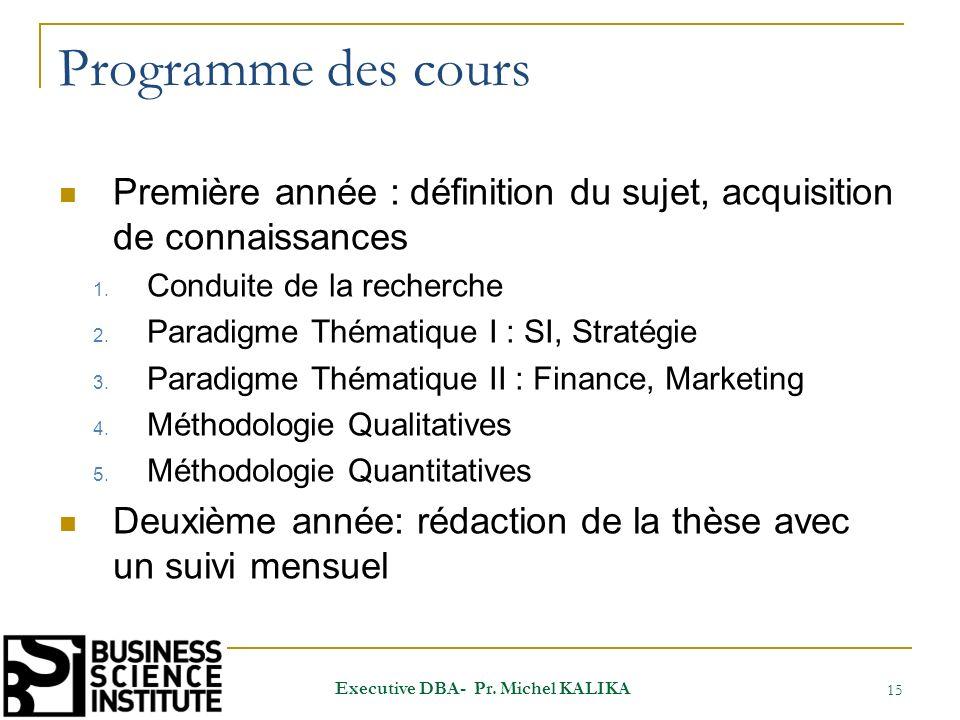 Programme des cours Première année : définition du sujet, acquisition de connaissances 1. Conduite de la recherche 2. Paradigme Thématique I : SI, Str