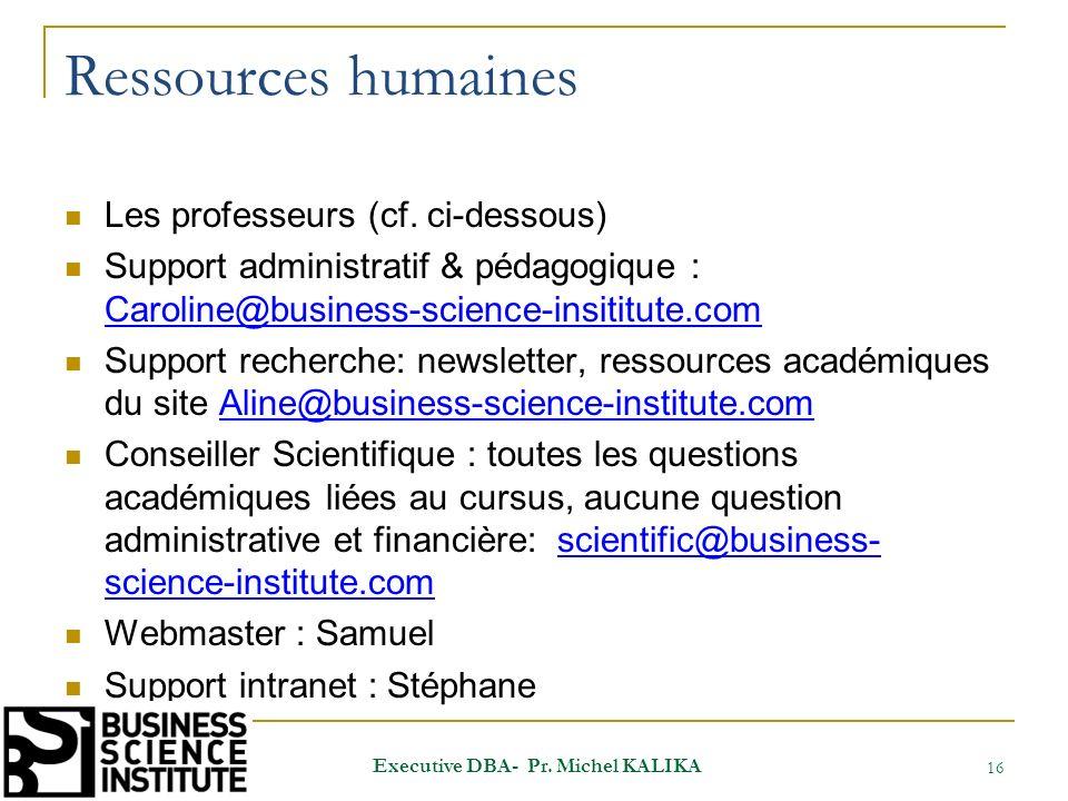Ressources humaines Les professeurs (cf. ci-dessous) Support administratif & pédagogique : Caroline@business-science-insititute.com Caroline@business-