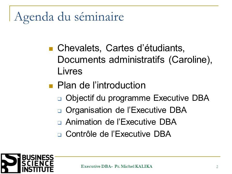 Agenda du séminaire Chevalets, Cartes détudiants, Documents administratifs (Caroline), Livres Plan de lintroduction Objectif du programme Executive DB