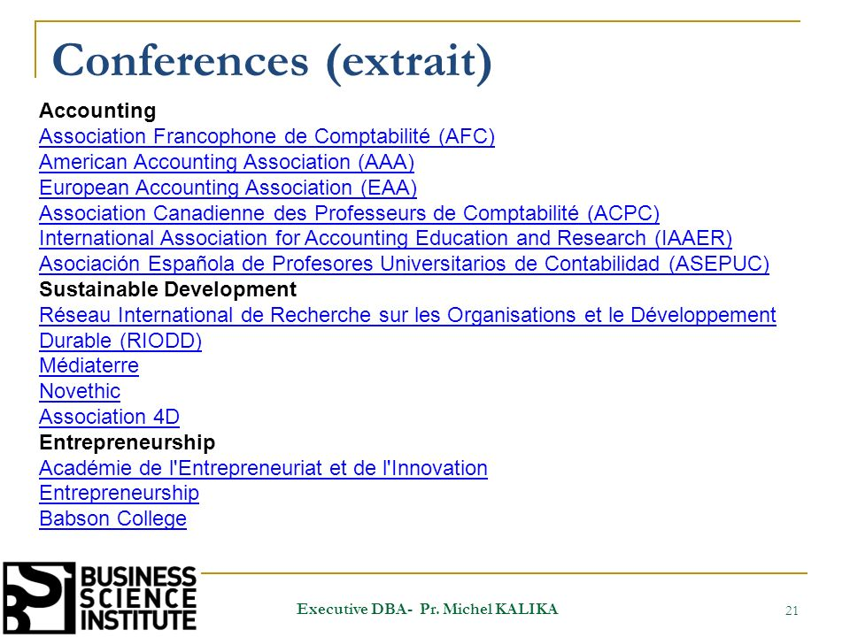Conferences (extrait) 21 Executive DBA- Pr.
