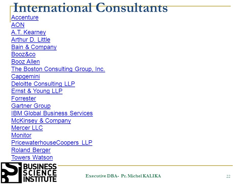 International Consultants 22 Executive DBA- Pr. Michel KALIKA Accenture AON A.T.