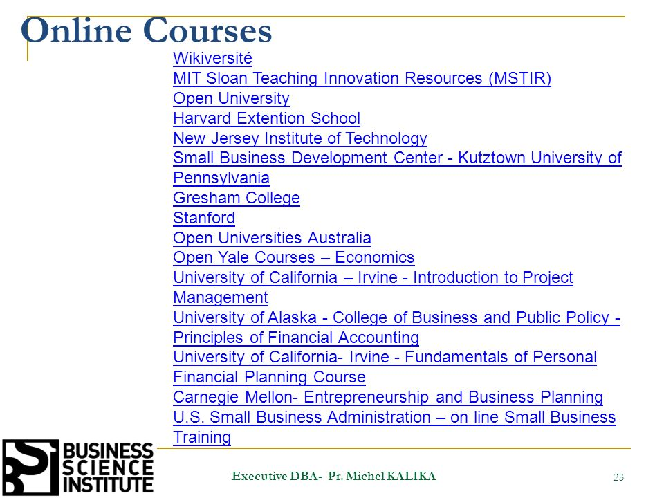 Online Courses 23 Executive DBA- Pr.