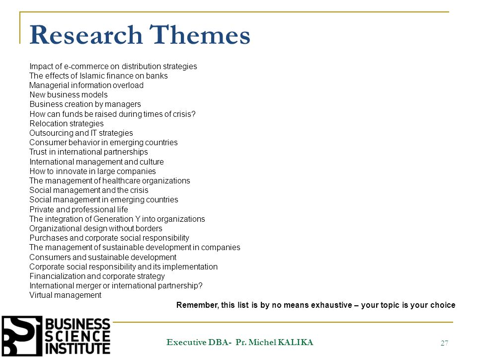 Research Themes 27 Executive DBA- Pr.