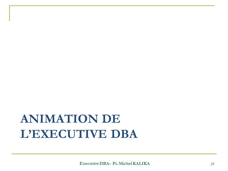 ANIMATION DE LEXECUTIVE DBA 29 Executive DBA- Pr. Michel KALIKA