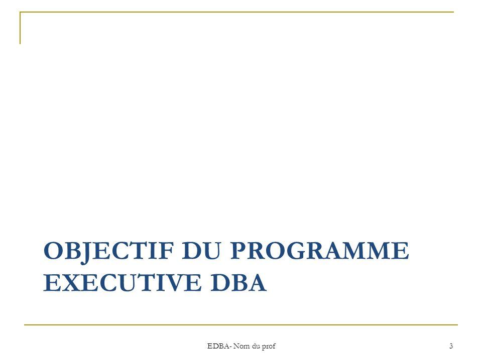 OBJECTIF DU PROGRAMME EXECUTIVE DBA EDBA- Nom du prof 3