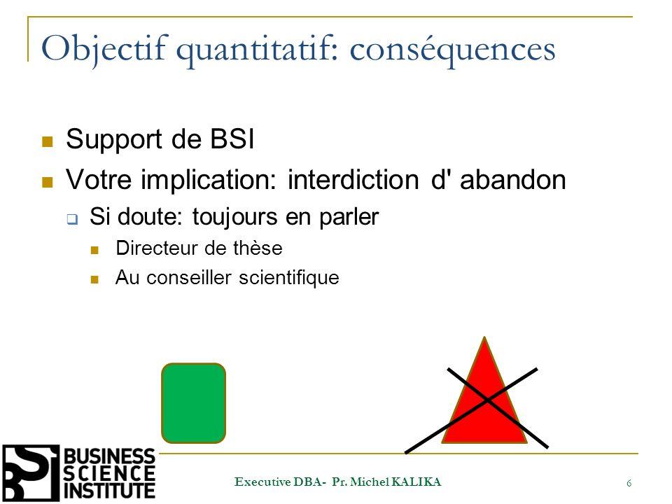 Objectif quantitatif: conséquences Support de BSI Votre implication: interdiction d' abandon Si doute: toujours en parler Directeur de thèse Au consei