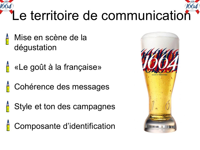 Le territoire de communication Mise en scène de la dégustation «Le goût à la française» Cohérence des messages Style et ton des campagnes Composante didentification