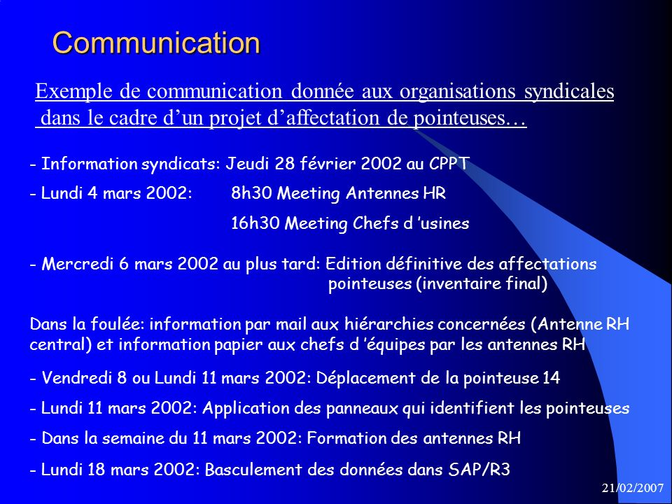 21/02/2007Communication - Information syndicats: Jeudi 28 février 2002 au CPPT - Lundi 4 mars 2002: 8h30 Meeting Antennes HR 16h30 Meeting Chefs d usi