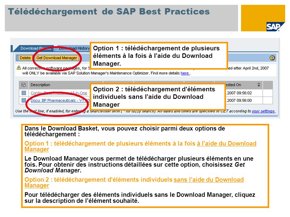 Option 1: Download of several items at once using the Download Manager Option 2: Download of individual items without using the Download Manager Télédéchargement de SAP Best Practices Option 1 : télédéchargement de plusieurs éléments à la fois à l aide du Download Manager.