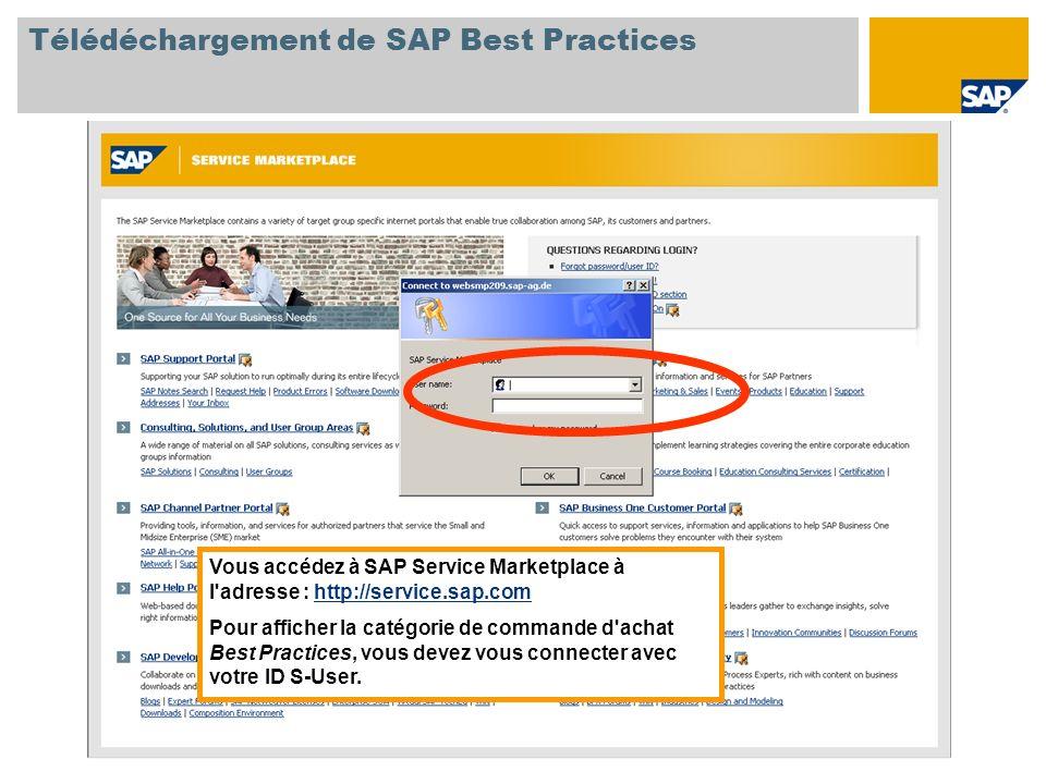 Vous accédez à SAP Service Marketplace à l adresse : http://service.sap.comhttp://service.sap.com Pour afficher la catégorie de commande d achat Best Practices, vous devez vous connecter avec votre ID S-User.