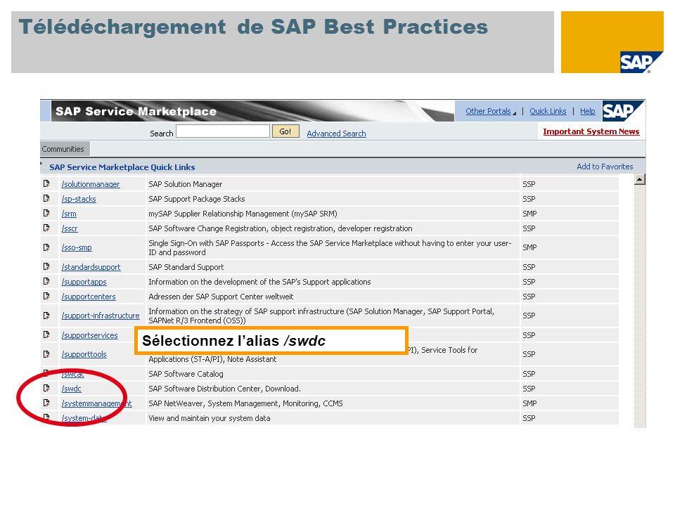 Sélectionnez lalias /swdc Télédéchargement de SAP Best Practices