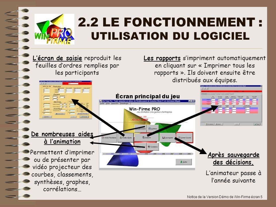 Notice de la Version Démo de Win-Firme écran 5 2.2 LE FONCTIONNEMENT : UTILISATION DU LOGICIEL Lécran de saisie reproduit les feuilles dordres remplie
