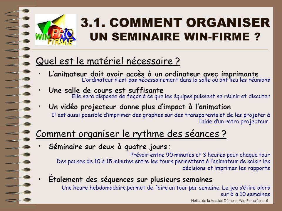 Notice de la Version Démo de Win-Firme écran 6 3.1. COMMENT ORGANISER UN SEMINAIRE WIN-FIRME ? Séminaire sur deux à quatre jours : Étalement des séque