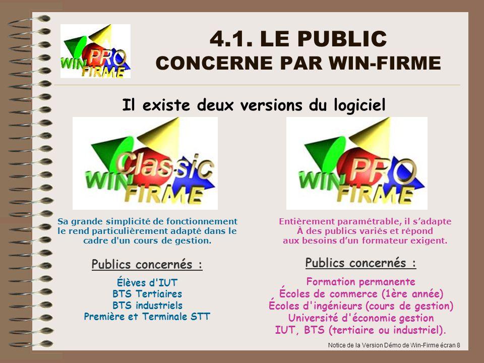 Notice de la Version Démo de Win-Firme écran 8 4.1. LE PUBLIC CONCERNE PAR WIN-FIRME Il existe deux versions du logiciel Publics concernés : Formation