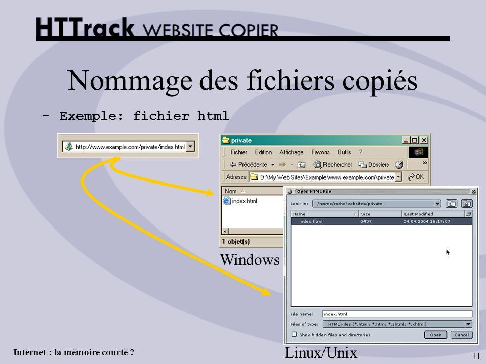 Internet : la mémoire courte ? 11 Nommage des fichiers copiés -Exemple: fichier html Windows Linux/Unix