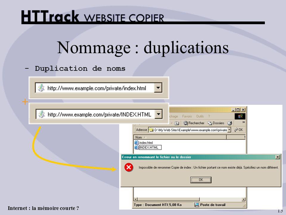 Internet : la mémoire courte ? 13 Nommage : duplications -Duplication de noms +