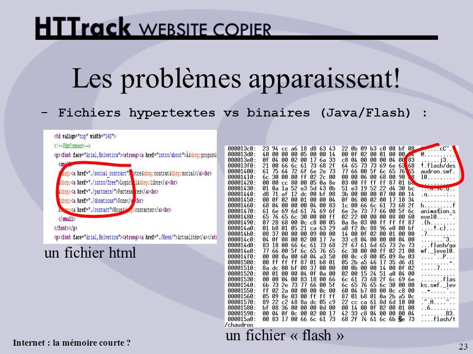 Internet : la mémoire courte ? 23 Les problèmes apparaissent! -Fichiers hypertextes vs binaires (Java/Flash) : un fichier html un fichier « flash »