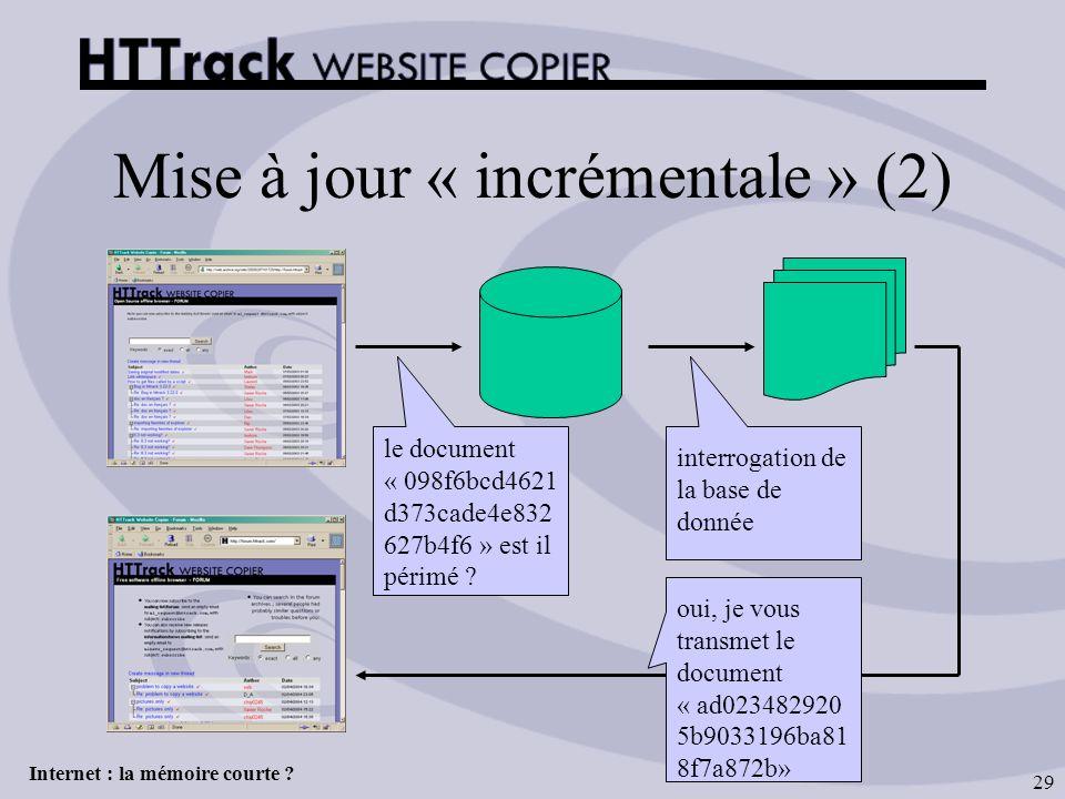 Internet : la mémoire courte ? 29 Mise à jour « incrémentale » (2) le document « 098f6bcd4621 d373cade4e832 627b4f6 » est il périmé ? interrogation de