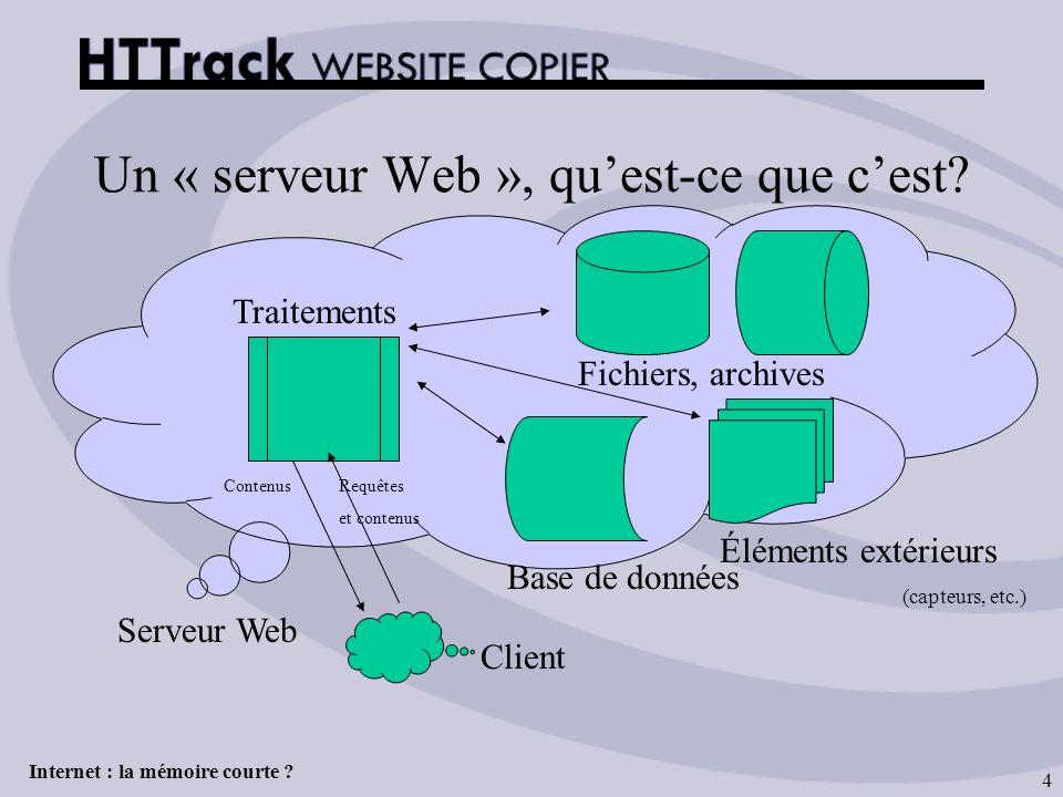 Internet : la mémoire courte ? 4 Un « serveur Web », quest-ce que cest? Fichiers, archives Base de données Traitements Éléments extérieurs (capteurs,